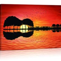 Guitar Sunset Art For Music Bedroom Decor