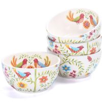 Red Spring Bird Ceramic Bowls